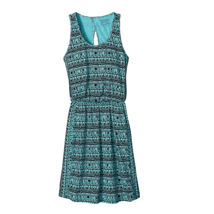 W'S WEST ASHLEY DRESS, Points and Feathers: Howling Turquoise (PTHT)