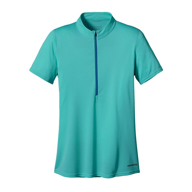 W'S S/S FORE RUNNER ZIP NECK, Howling Turquoise (HWLT)