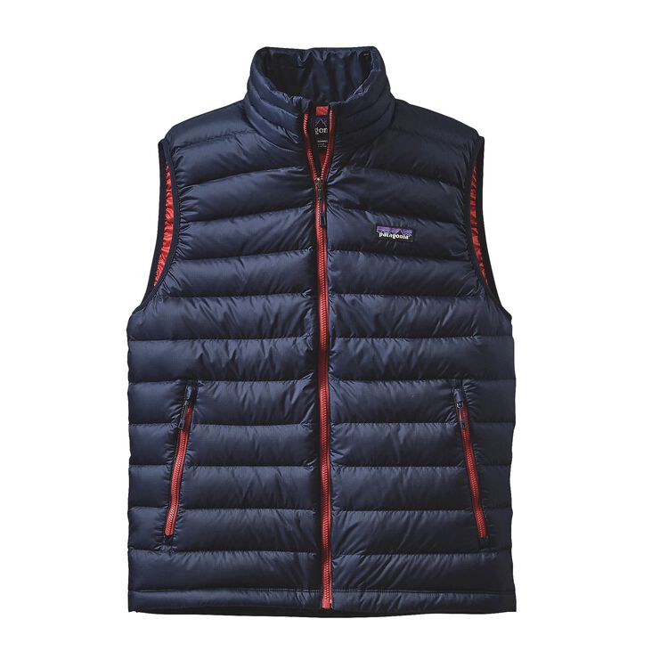 M'S DOWN SWEATER VEST, Navy Blue w/Ramble Red (NBRR)