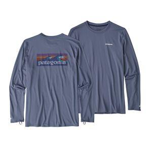 メンズ・RØ ロングスリーブ・サン・ティー, Boardshort Logo: Dolomite Blue (BOLD)