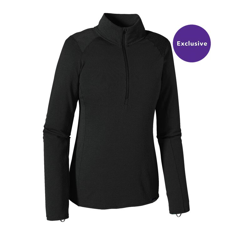 W'S MERINO TW ZIP NECK, Black (BLK)