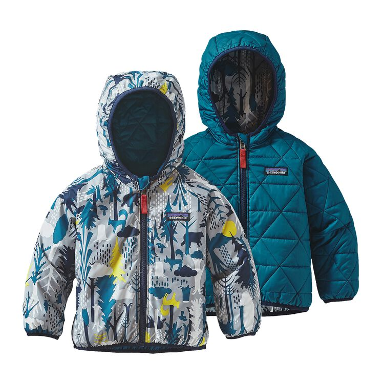 BABY REVERSIBLE PUFF-BALL JKT, Pine Friends Big: Drifter Grey (PFBD)