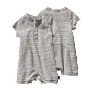 BABY COZY COTTON SHORTIE, Itsy Bitsy Stripe: Drifter Grey (IBDG)