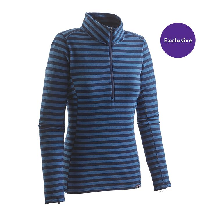 W'S MERINO MW ZIP NECK, Pearson Stripe: Epic Blue/Navy Blue (PENV)