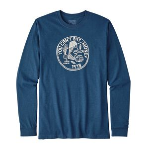 M's Long-Sleeved Can't Eat Money Cotton/Poly Responsibili-Tee® , Glass Blue (GLSB)