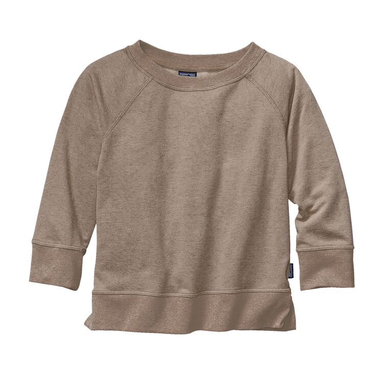 GIRLS' LW FLEECE CREW, El Cap Khaki (ELKH)