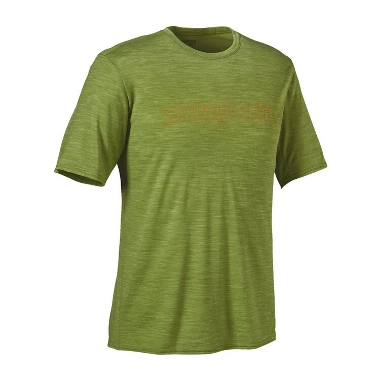 M'S MERINO DAILY GRAPHIC T-SHIRT, Text Outline Logo: Supply Green (TXSG)