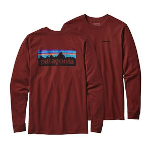M'S L/S P-6 LOGO COTTON T-SHIRT, Cinder Red (CDRR)