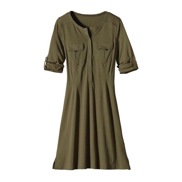 W'S KAMALA HENLEY DRESS, Fatigue Green (FTGN)