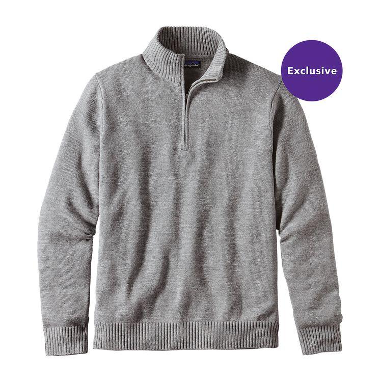 メンズ・メリノ・1/4ジップ・セーター, Feather Grey (FEA)