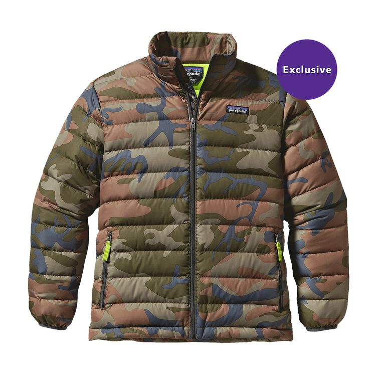 BOYS' DOWN SWEATER, Forest Camo: Hickory (FCMH)