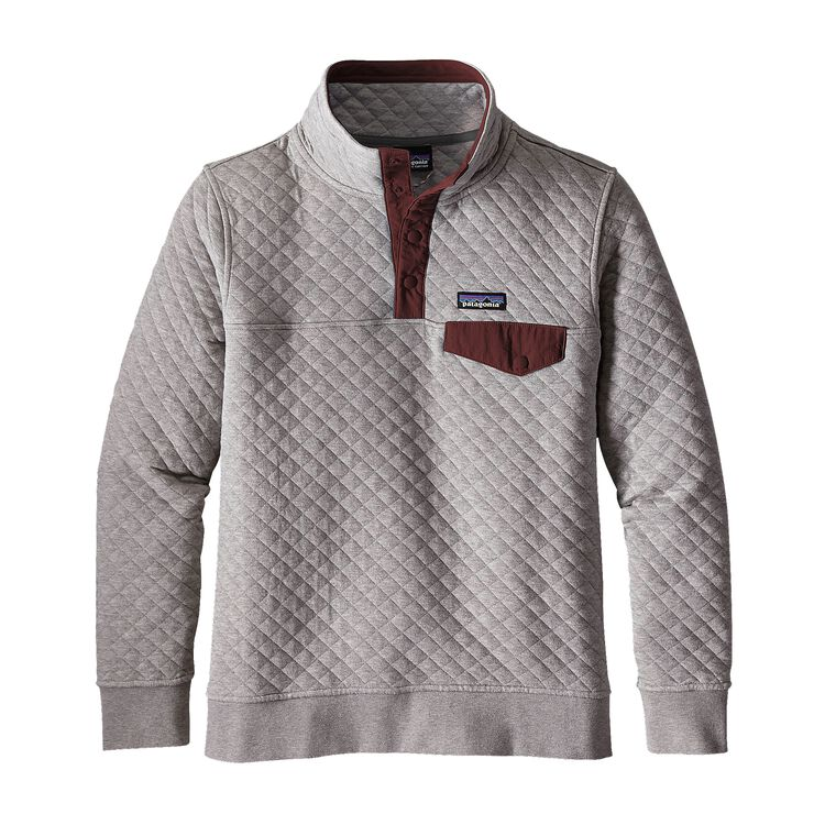 W'S COTTON QUILT SNAP-T P/O, Drifter Grey w/Dark Ruby (DDRB)