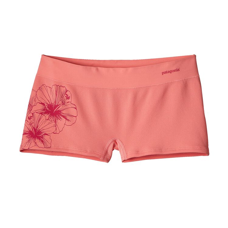 W'S ACTIVE MESH BOY SHORTS, Waterflower Graphic: Pickled Pink (WFWP)