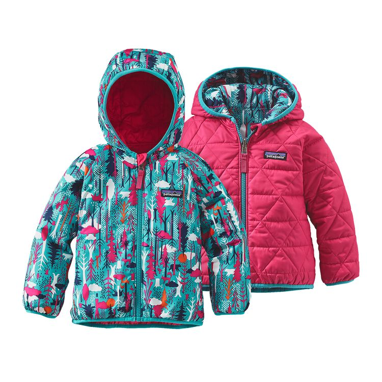 BABY REVERSIBLE PUFF-BALL JKT, Pine Friends: Epic Blue (PFEB)