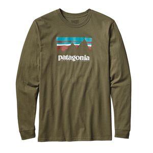 M's Long-Sleeved Shop Sticker Cotton T-Shirt, Fatigue Green (FTGN)