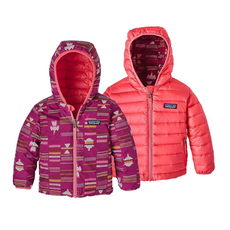 BABY REVERSIBLE DOWN SWEATER HOODY, River Tribe Small: Magenta (RVTM)