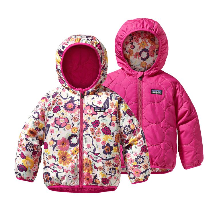 BABY REVERSIBLE PUFF-BALL JKT, Birds & Vines: Rosy Posy Pink (BVRP)