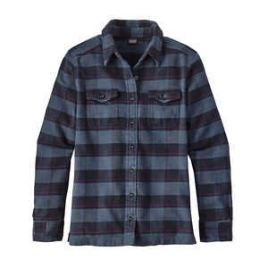 W's Long-Sleeved Fjord Flannel Shirt, Boxwood Plaid: Navy Blue (BXNV)
