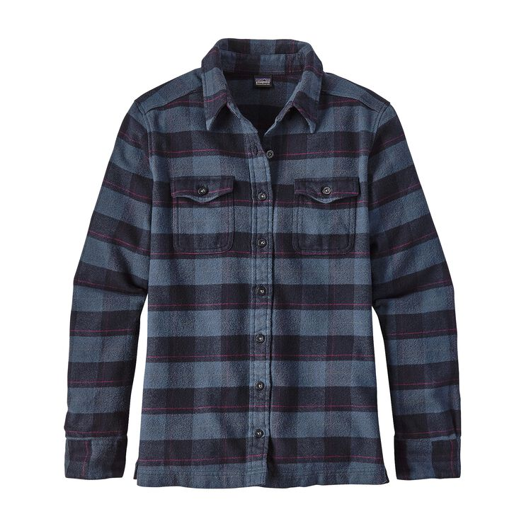 W'S L/S FJORD FLANNEL SHIRT, Boxwood Plaid: Navy Blue (BXNV)