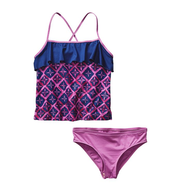 GIRLS' WAVY DAY TANKINI, Talavera Tiles: Mock Purple (TVMP)