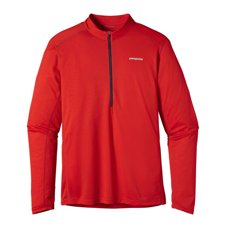 M'S L/S FORE RUNNER ZIP NECK, French Red (FRR)