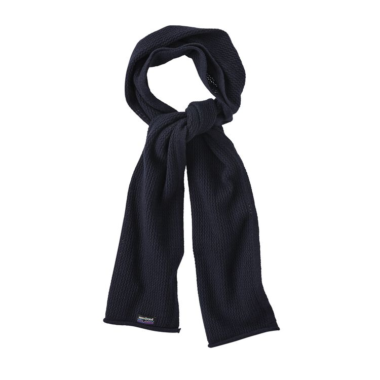 W'S RECYCLED CASHMERE POINTELLE SCARF, Navy Blue (NVYB)
