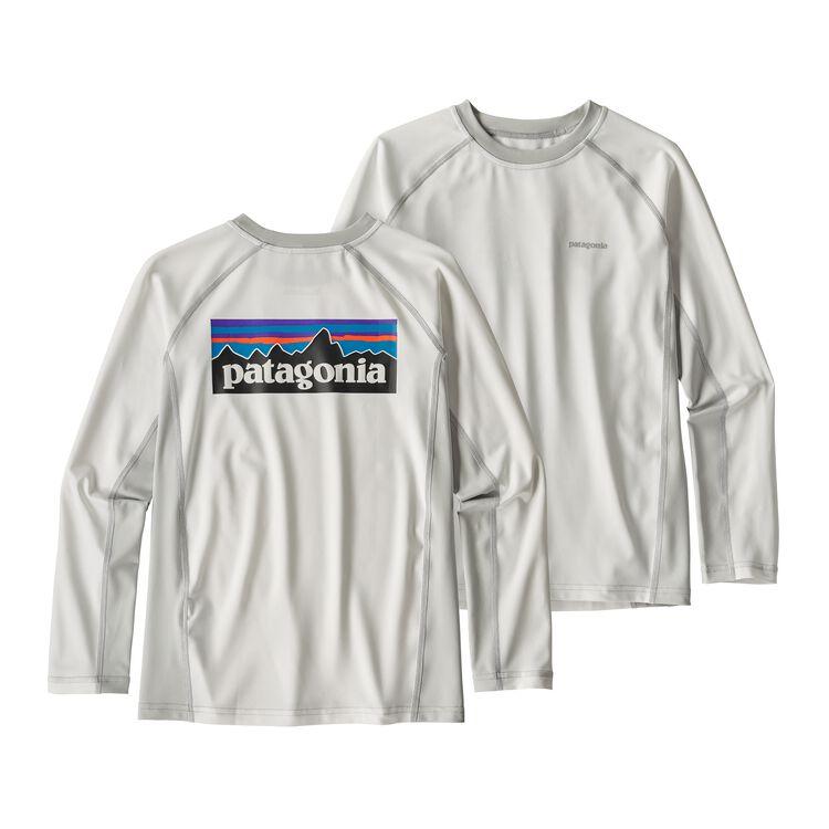 ボーイズ・ロングスリーブ・シルクウェイト・ラッシュガード, White w/Tailored Grey (WTGY)