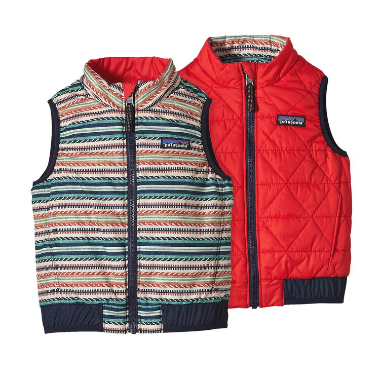 BABY REVERSIBLE PUFF-BALL VEST, Fin Stripe: French Red (FFNR)