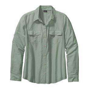 ウィメンズ・ロングスリーブ・オーバーキャスト・シャツ, Chambray: Gypsum Green (CGPM)