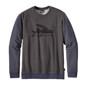 M's Flying Fish Midweight Crew Sweatshirt, Black w/Smolder Blue (BSMB)