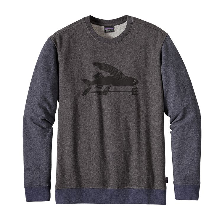 M'S FLYING FISH MW CREW SWEATSHIRT, Black w/Smolder Blue (BSMB)
