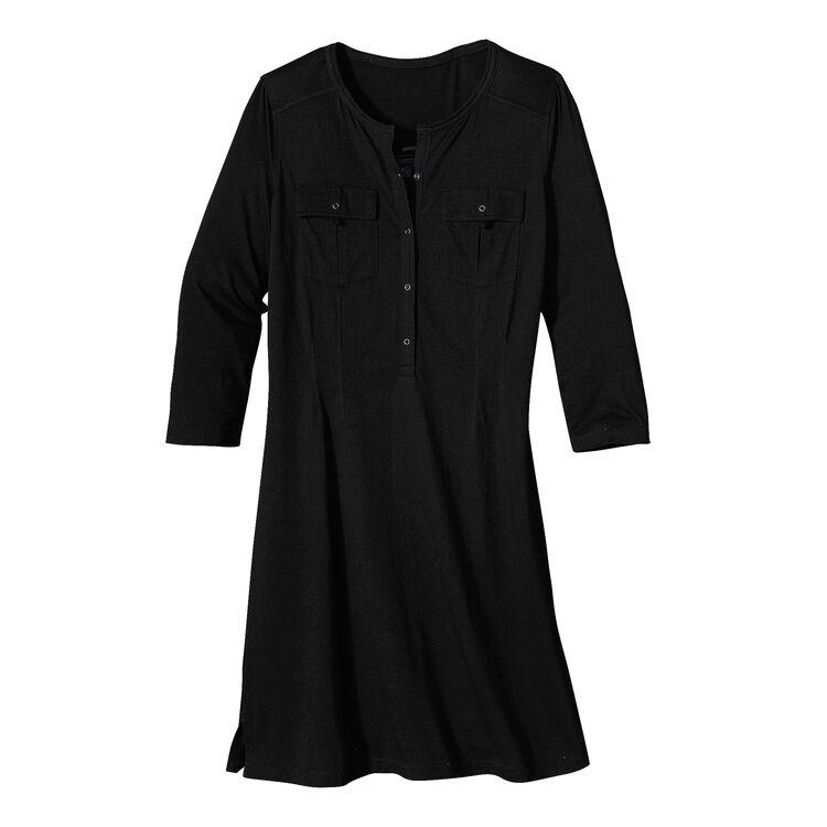 W'S KAMALA HENLEY DRESS, Black  (BLK-155)