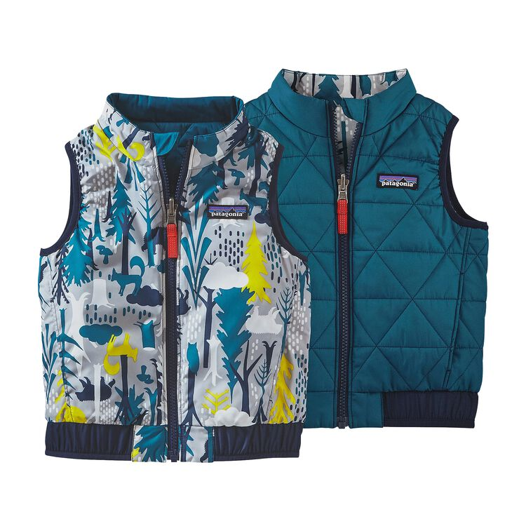 BABY REVERSIBLE PUFF-BALL VEST, Pine Friends Big: Drifter Grey (PFBD)