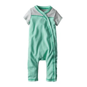 Baby Cozy Cotton One-Piece, Cove Stripe: Galah Green (CVGG)