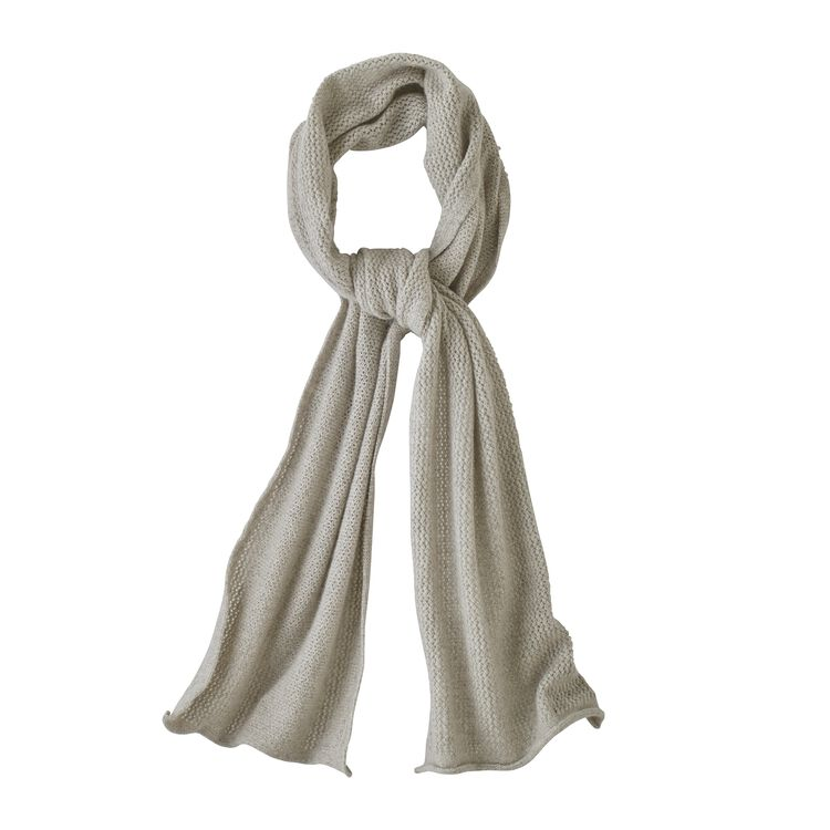 W'S RECYCLED CASHMERE POINTELLE SCARF, Birch White (BCW)