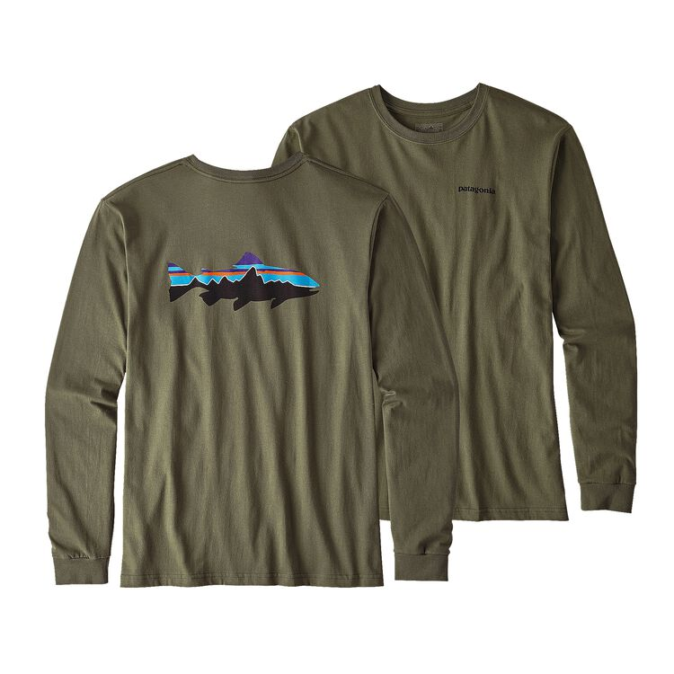 メンズ・ロングスリーブ・フィッツロイ・トラウト・オーガニックコットン・Tシャツ, Industrial Green (INDG)