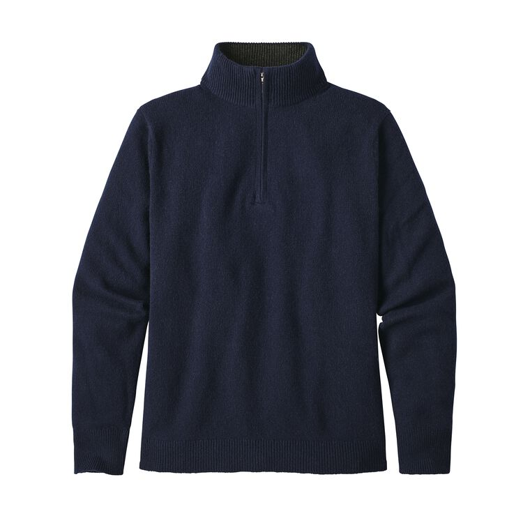 M'S RECYCLED CASHMERE 1/4-ZIP SWEATER, Navy Blue (NVYB)