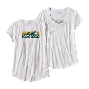 ウィメンズ・ボード・ショーツ・ロゴ・コットン/ポリ・スクープ・Tシャツ, White (WHI)