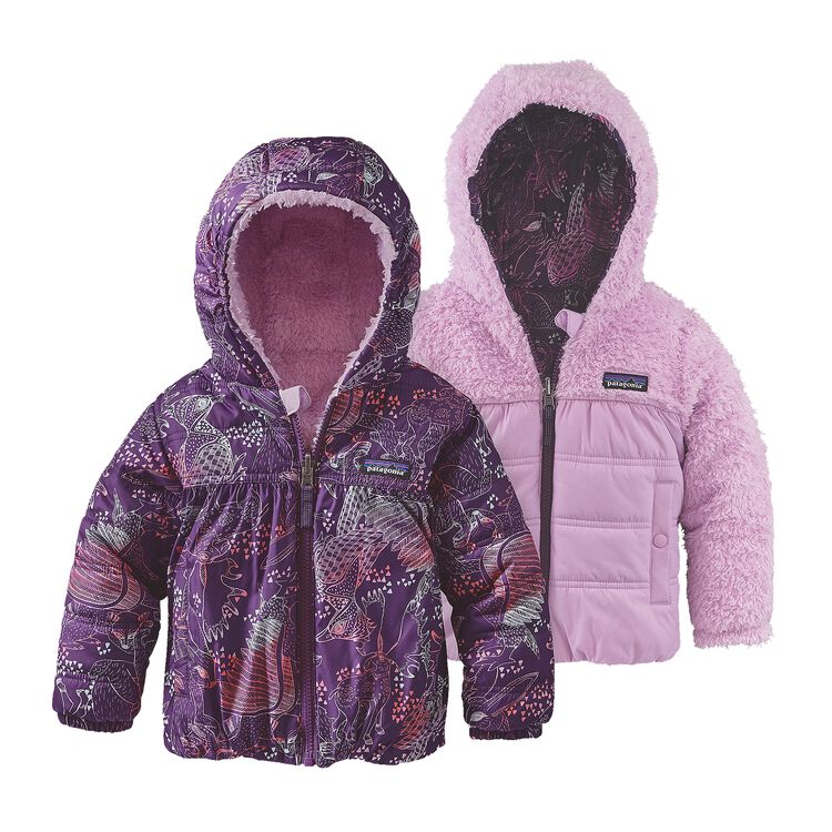 BABY REVERSIBLE HONEY PUFF HOODY, Forest Folklore: Panther Purple (FFPP)