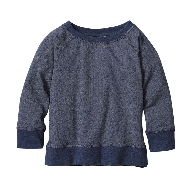GIRLS' LW FLEECE CREW, Navy Blue (NVYB)