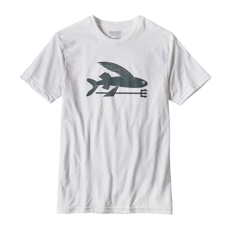 メンズ・フライング・フィッシュ・コットン/ポリ・Tシャツ, White w/Nouveau Green (WNVO)