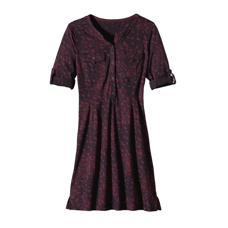 W'S KAMALA HENLEY DRESS, Tracks and Treks: Oxblood Red (TKOB)