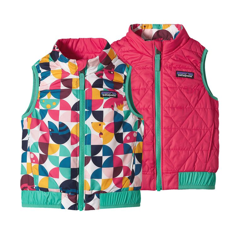 BABY REVERSIBLE PUFF-BALL VEST, Playtime Pals: Rossi Pink (PRYP)