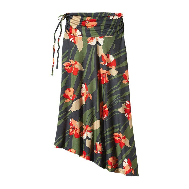 W'S KAMALA SKIRT, Abstract Floral: Camp Green (ACAG)