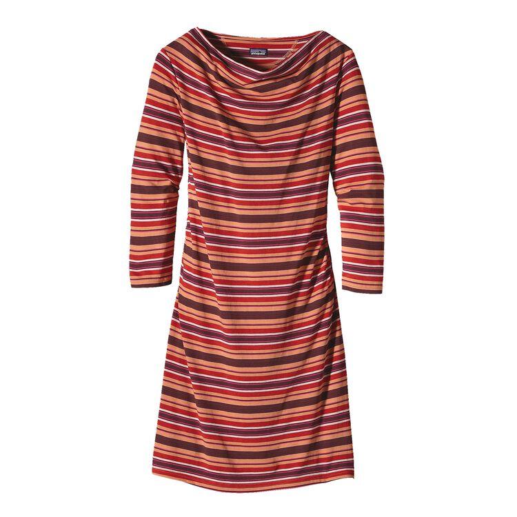 ウィメンズ・カマラ・カウルネック・ドレス, Hatty Stripe: Dark Currant (HDKC)