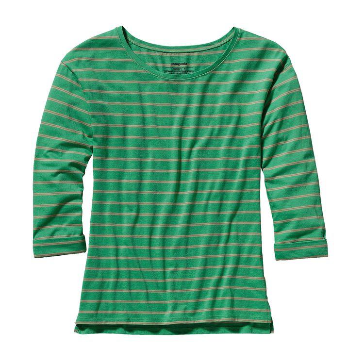 ウィメンズ・シャロウ・シーズ・トップ, Bonita Stripe: Nettle Green (BNTG)