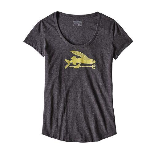 ウィメンズ・フライング・フィッシュ・コットン/ポリ・スクープ・Tシャツ, Black (BLK)