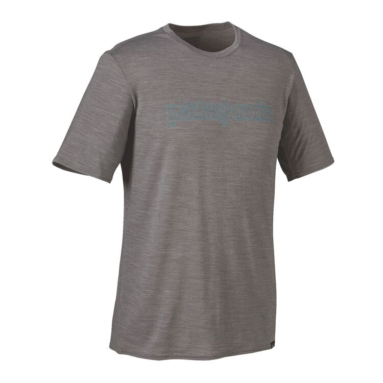 M'S MERINO DAILY GRAPHIC T-SHIRT, Text Outline Logo: Feather Grey (TOLF)