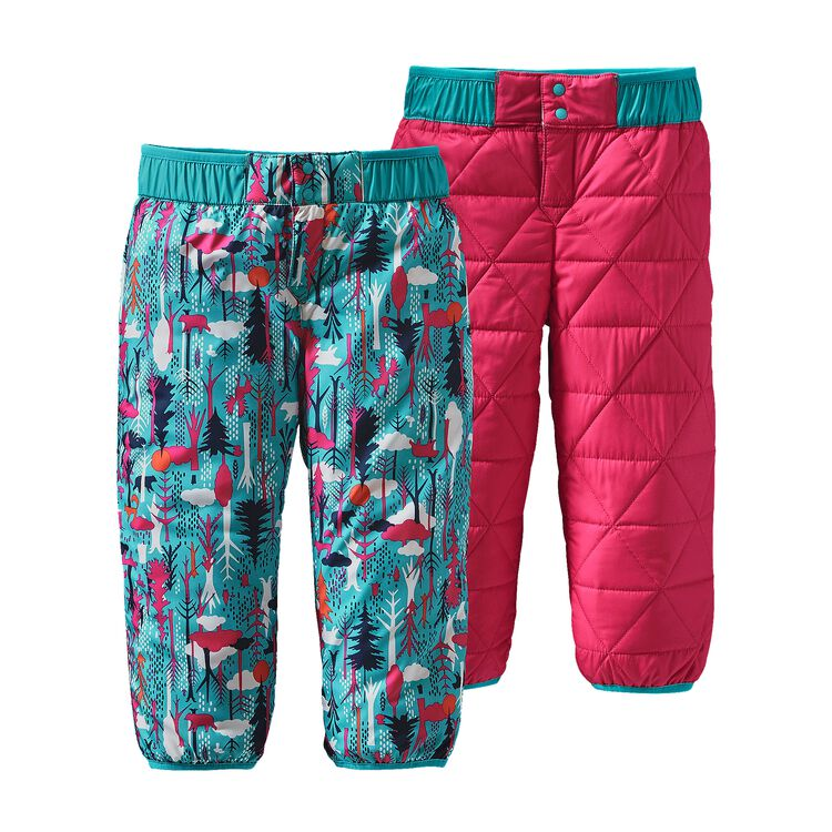 BABY REVERSIBLE PUFF-BALL PANTS, Pine Friends: Epic Blue (PFEB)
