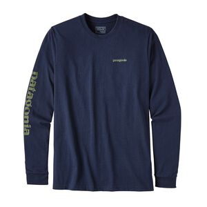 M's Long-Sleeved Text Logo Cotton/Poly Responsibili-Tee®, Navy Blue (NVYB)